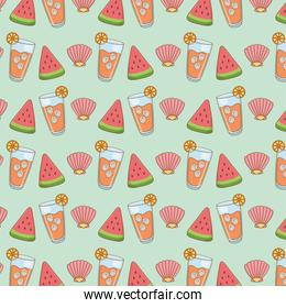 watermelon with juice fruit and shell pattern