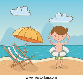 young boy on the beach scene