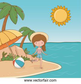 young girl on the beach scene