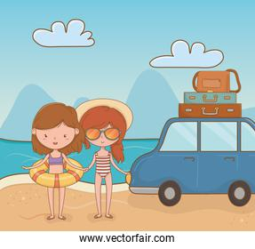 young girls with car on the beach scene