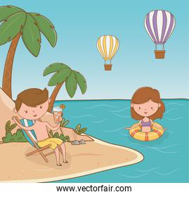 young couple on the beach scene