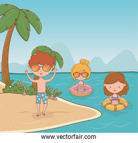 young kids on the beach scene