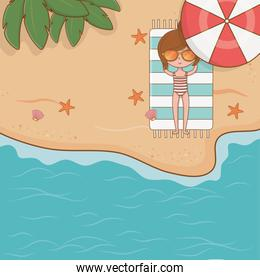 young girl on the beach airview scene