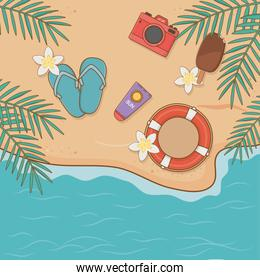 summer vacations items on the beach airview scene
