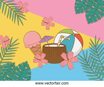 coconut cocktail with travel vacations items