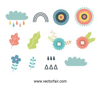flower leaves cloud and rainbow elements design vector illustration