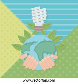 Hand holding planet and save energy design