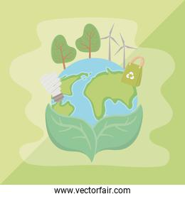 leaves holding planet and save energy design