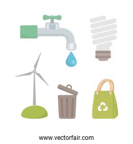 save energy and ecology icon set design