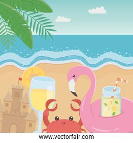 hello summer poster with seascape scene icons