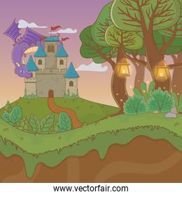 fairytale landscape scene with castle and dragon