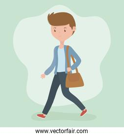 young businessman with portfolio walking character