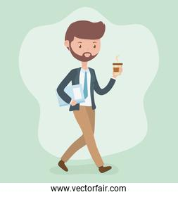 young businessman with coffee walking character