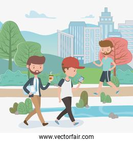young businessmen walking in the park