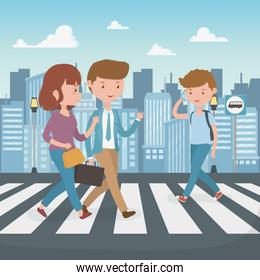young people walking in the street characters