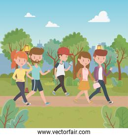 young people walking in the park characters