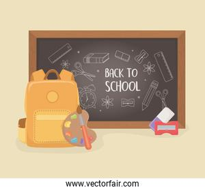 schoolbag with chalkboard and supplies back to school