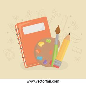 paint pallette and supplies back to school