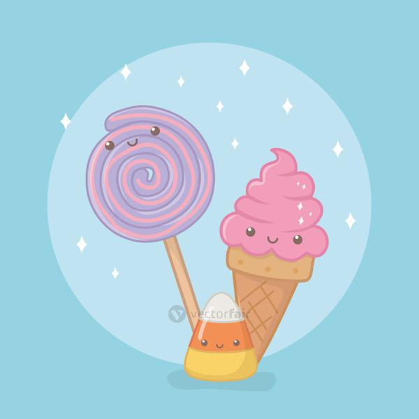 delicious and sweet lollipop and products kawaii characters