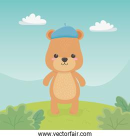 cute and little bear teddy in the field with blue belt