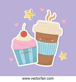 coffee in container plastic and cupcake kawaii characters
