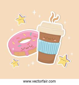 coffee in container plastic and donut kawaii characters