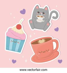 cute cat with coffee and cupcake kawaii characters