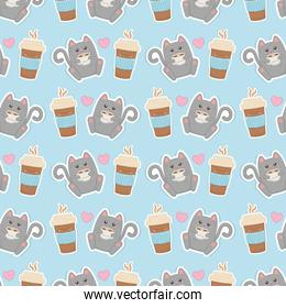 cute cat with coffee kawaii characters pattern
