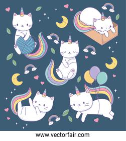 smiling cats with rainbow tails kawaii characters