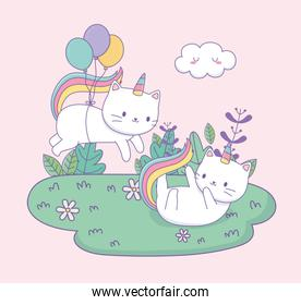 cute cats with rainbow tail and balloons helium kawaii characters