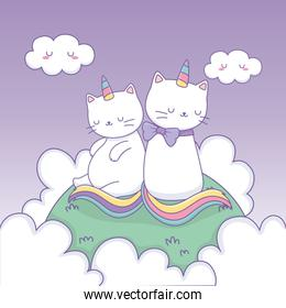cute cats with rainbow tail in the camp kawaii characters