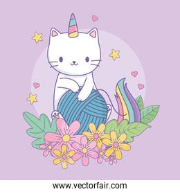 cute caticorn with floral decoration and ball of wool