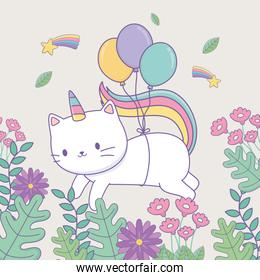 cute caticorn with floral decoration and balloons helium
