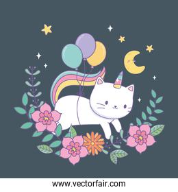 cute caticorn with floral decoration at night