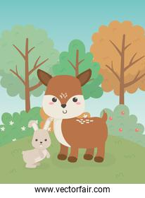 cute fawn and rabbit animals farm characters