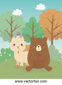 cute bear and goat animals farm characters