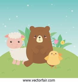 cute bear and sheep and chick animals farm characters