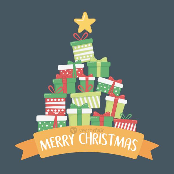 happy merry christmas card with gifts boxes