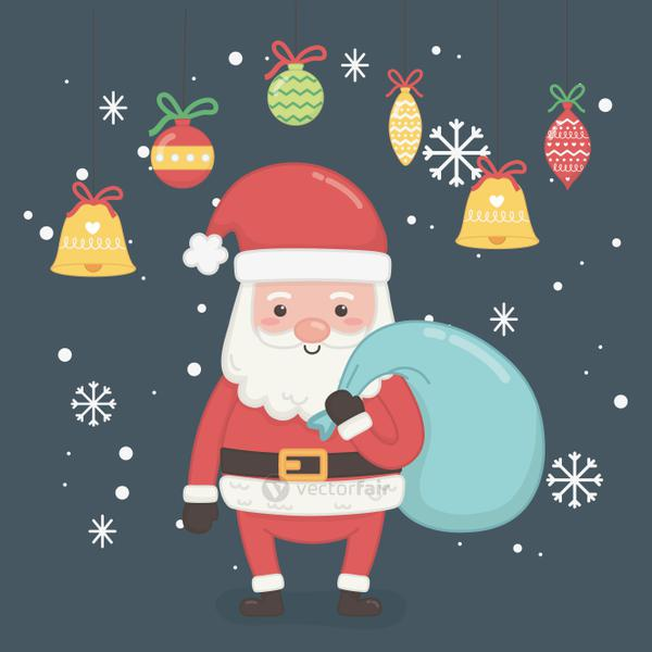 merry christmas card with santa claus and bag