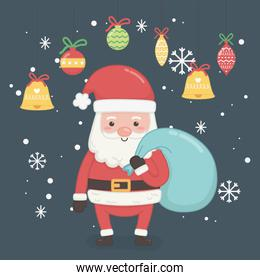 merry merry christmas card with santa claus and bag