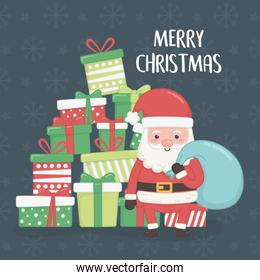 merry merry christmas card with santa claus and gifts