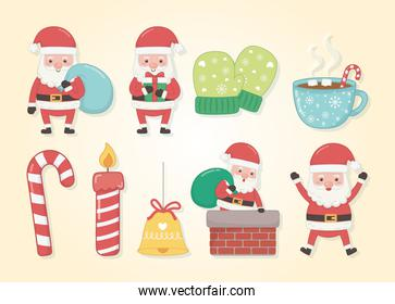 merry merry christmas card with set icons