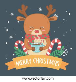 merry merry christmas card with reindeer