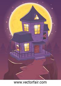 scary house in the hill night scene halloween