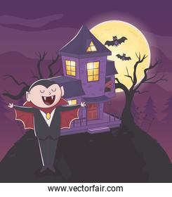 count dracula bats and house halloween