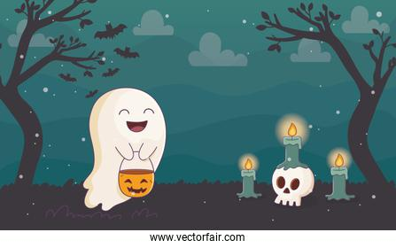 happy ghost with pumpkin candles skull halloween