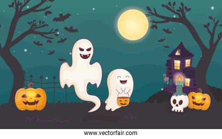 ghosts pumpkin and candles skull halloween