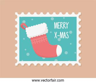 red sock celebration happy christmas stamp