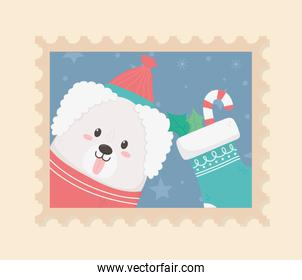 cute dog celebration happy christmas stamp