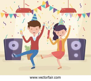 celebrating couple dancing music with wine glass party